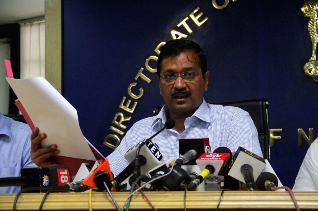 Delhi Chief Minister Arvind Kejriwal addresses a press conference in New Delhi on Sep 3, 2019. - Arvind Kejriwal