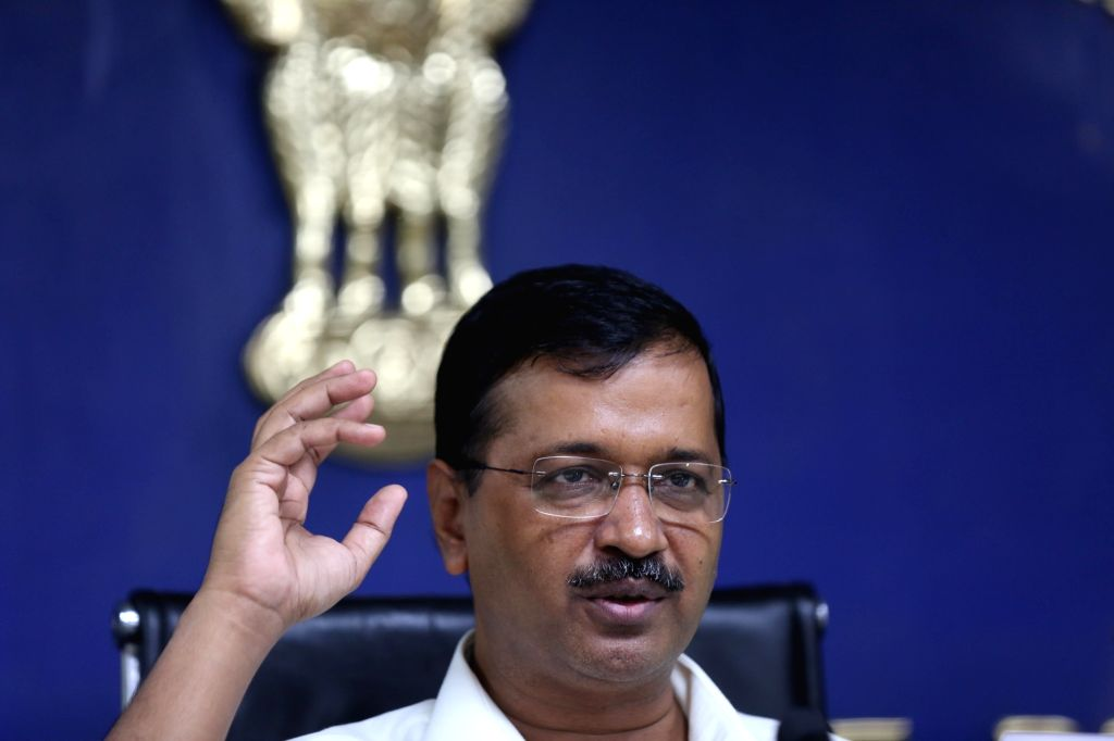 Delhi Chief Minister Arvind Kejriwal addresses a press conference in New Delhi on Oct 28, 2019. - Arvind Kejriwal