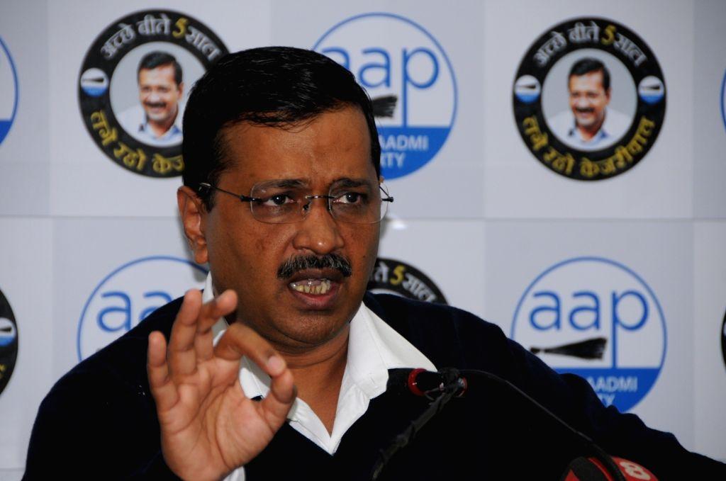 Delhi Chief Minister Arvind Kejriwal addresses a press conference in New Delhi on Jan 9, 2020. - Arvind Kejriwal