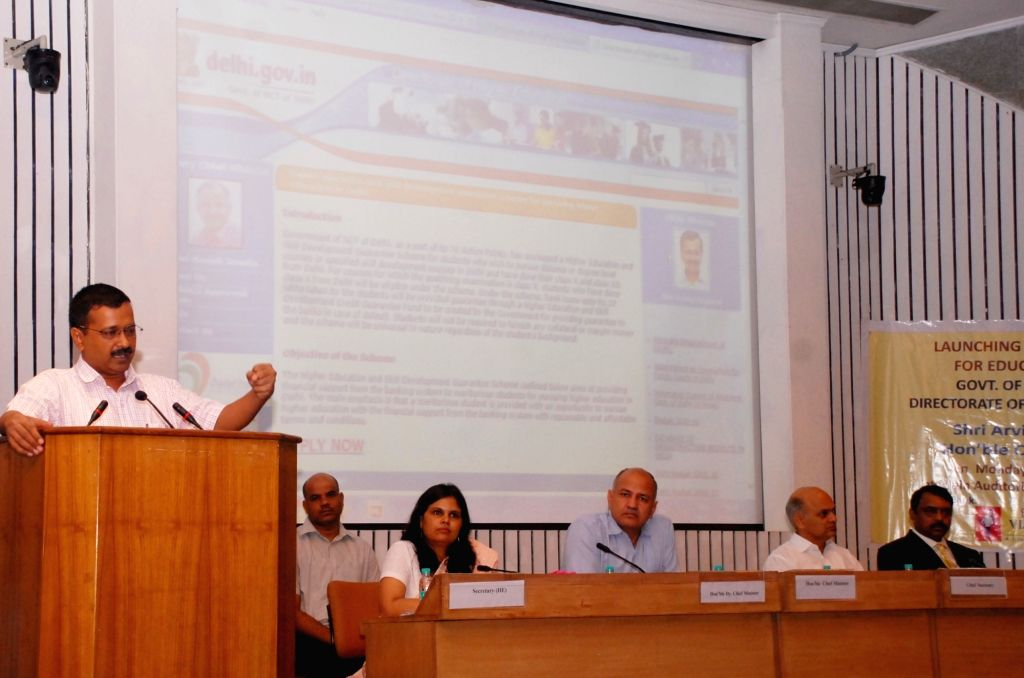 Delhi Chief Minister Arvind Kejriwal addresses at the launch of online application portal for Higher Education and Skill Development Guarantee Scheme in New Delhi, on June 20, 2016. - Arvind Kejriwal