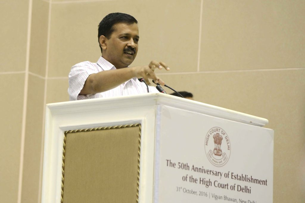 Delhi Chief Minister Arvind Kejriwal addresses at the 50th anniversary function of establishment of the Delhi High Court, in New Delhi on Oct 31, 2016. - Arvind Kejriwal