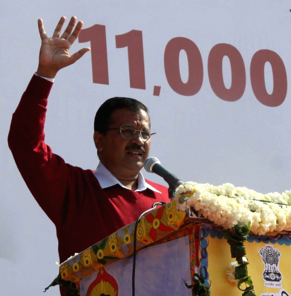 Delhi Chief Minister Arvind Kejriwal addresses at the foundation stone laying ceremony of 11,000 new classrooms in government schools of the national capital, on Jan 28, 2019. - Arvind Kejriwal