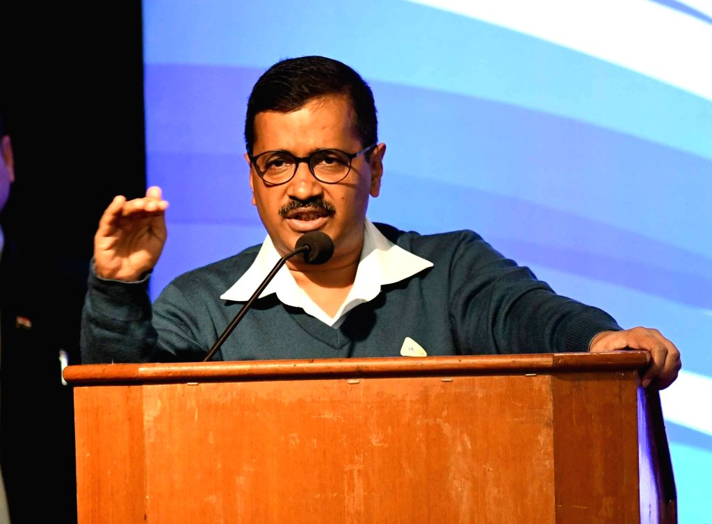 : Delhi Chief Minister Arvind Kejriwal addresses during a programme organised on completion of three years of Delhi Government, on Feb 14, 2018. (Photo: IANS).