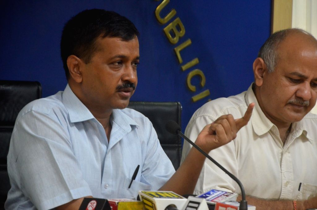 Delhi Chief Minister Arvind Kejriwal along with Deputy Chief Minister Manish Sisodia during a press conference in New Delhi on Aug 18, 2017. - Arvind Kejriwal