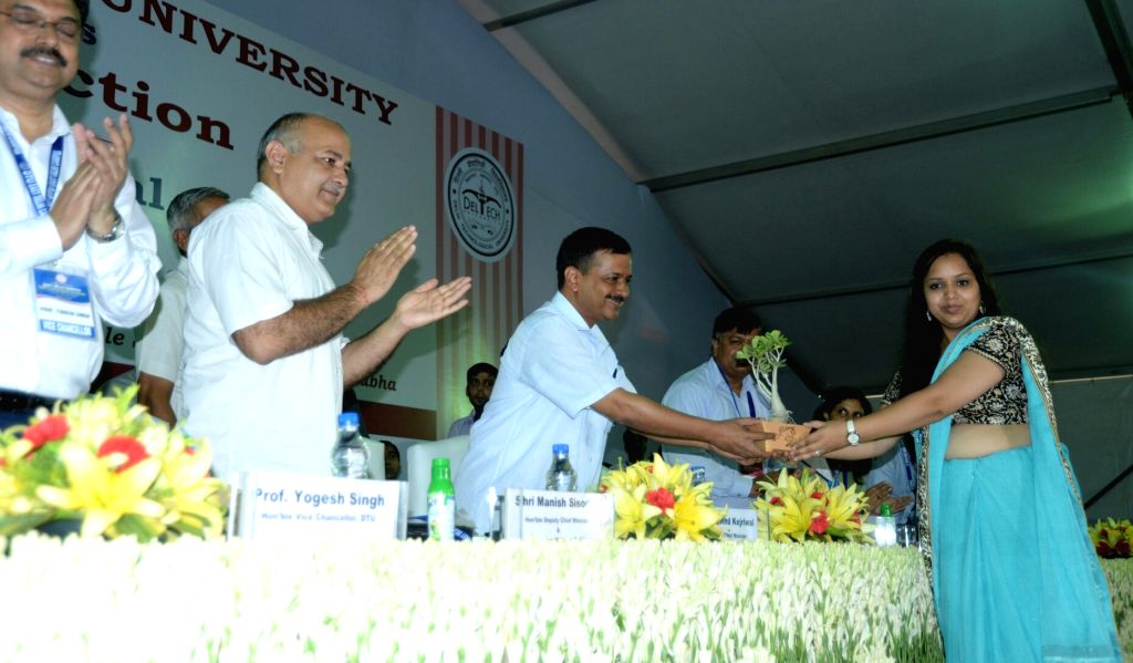 Delhi Chief Minister Arvind Kejriwal and Delhi Education Minister Manish Sisodia at the  inaugural function of the Delhi Technological University in New Delhi on Aug 18, 2017. - Arvind Kejriwal