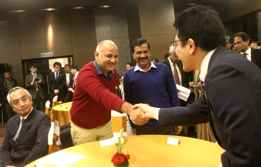 Delhi Chief Minister Arvind Kejriwal and Delhi Deputy Chief Minister Manish Sisodia during a programme organised to sign Twin City Friendship Agreement between Fukuoka Prefectural ... - Arvind Kejriwal