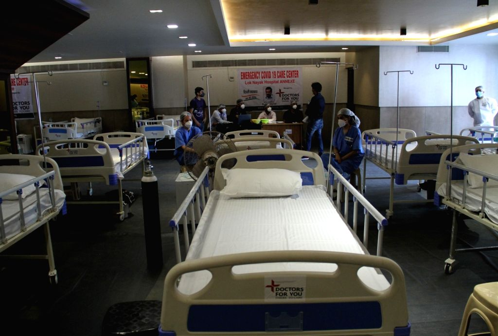 Delhi Chief Minister Arvind Kejriwal and Deputy Chief Minister Manish Sisodia during an inspection visit to a banquet turned isolation ward for COVID-19 patients, in New Delhi on June 24, 2020. - Arvind Kejriwal