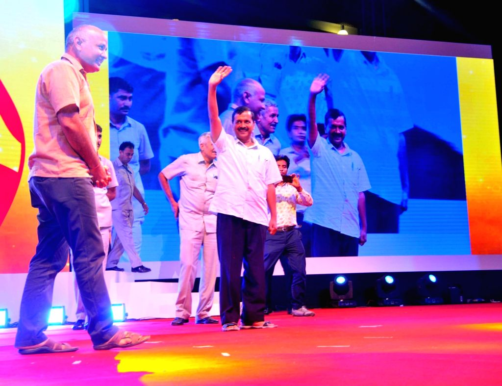 Delhi Chief Minister Arvind Kejriwal and Deputy Chief Minister Manish Sisodia during a programme on Teacher's Day on Sept 5, 2017. - Arvind Kejriwal