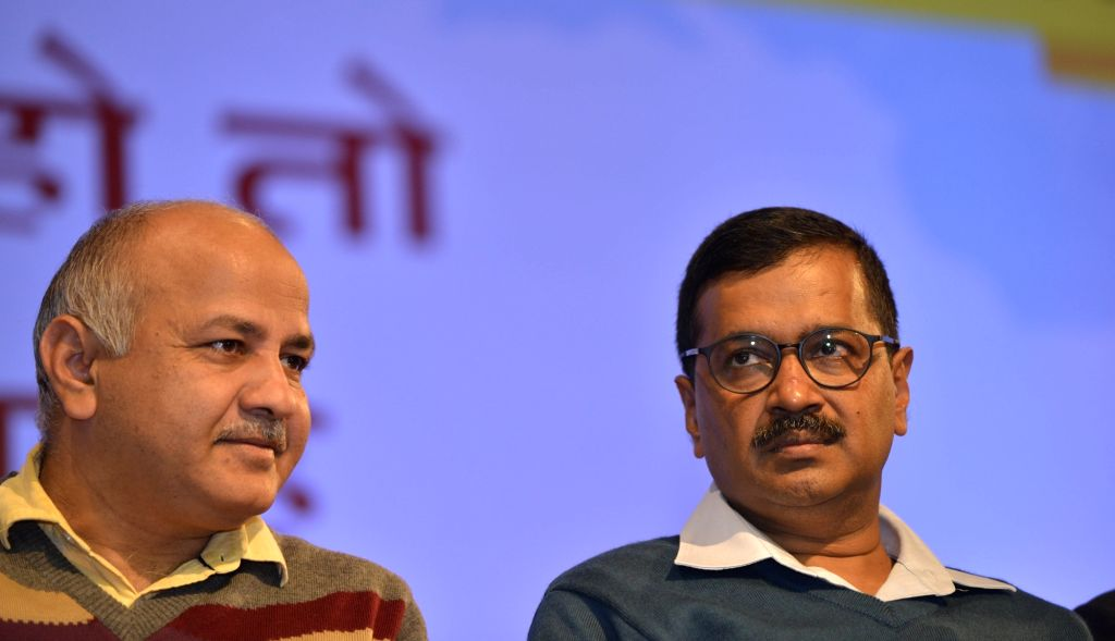 Delhi Chief Minister Arvind Kejriwal and Deputy Chief Minister Manish Sisodia during a programme organised on completion of three years of Delhi Government, on Feb 14, 2018. - Arvind Kejriwal