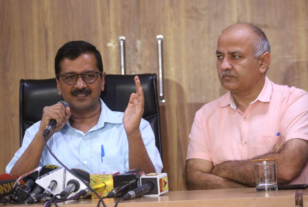 Delhi Chief Minister Arvind Kejriwal and Deputy Chief Minister Manish Sisodia during a press conference in New Delhi, on July 6, 2018. - Arvind Kejriwal