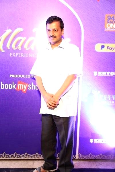 Delhi Chief Minister Arvind Kejriwal arrives to attend a special show of Disney's Aladdin - the Broadway style musical at Jawaharlal Nehru Indoor Stadium in New Delhi on July 11, 2018. - Arvind Kejriwal