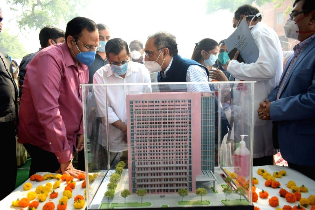 Delhi Chief Minister Arvind Kejriwal at the foundation stone laying ceremony of a1500-bedded medical block at the Lok Nayak Jai Prakash Narayan Hospital in New Delhi on Oct 23, 2020. - Arvind Kejriwal