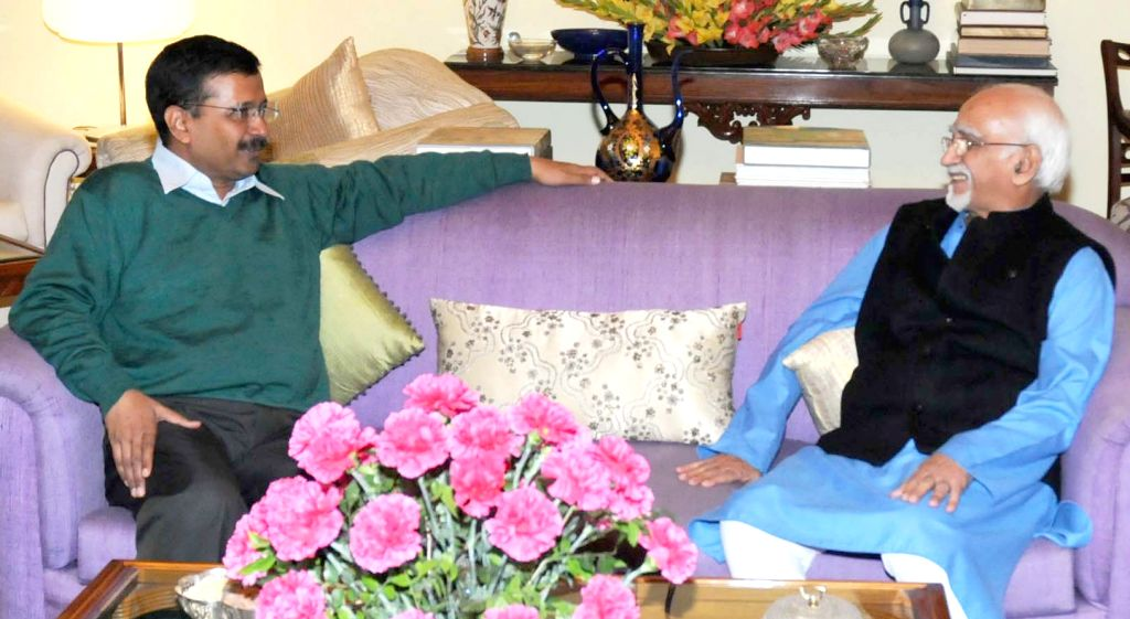 Delhi Chief Minister Arvind Kejriwal calls on the Vice President M Hamid Ansari, in New Delhi, on Jan 16, 2016.