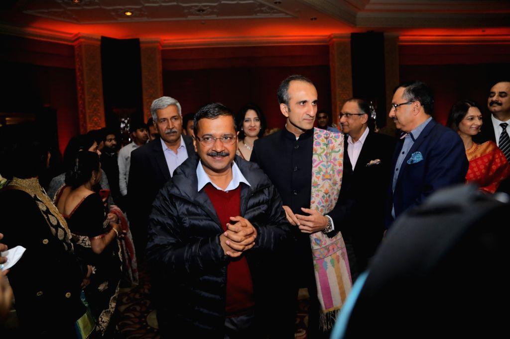 Delhi Chief Minister Arvind Kejriwal during wedding reception of Hero Cycles Chairman and Managing Director Pankaj M Munjal's son Aditya Munjal. - Arvind Kejriwal