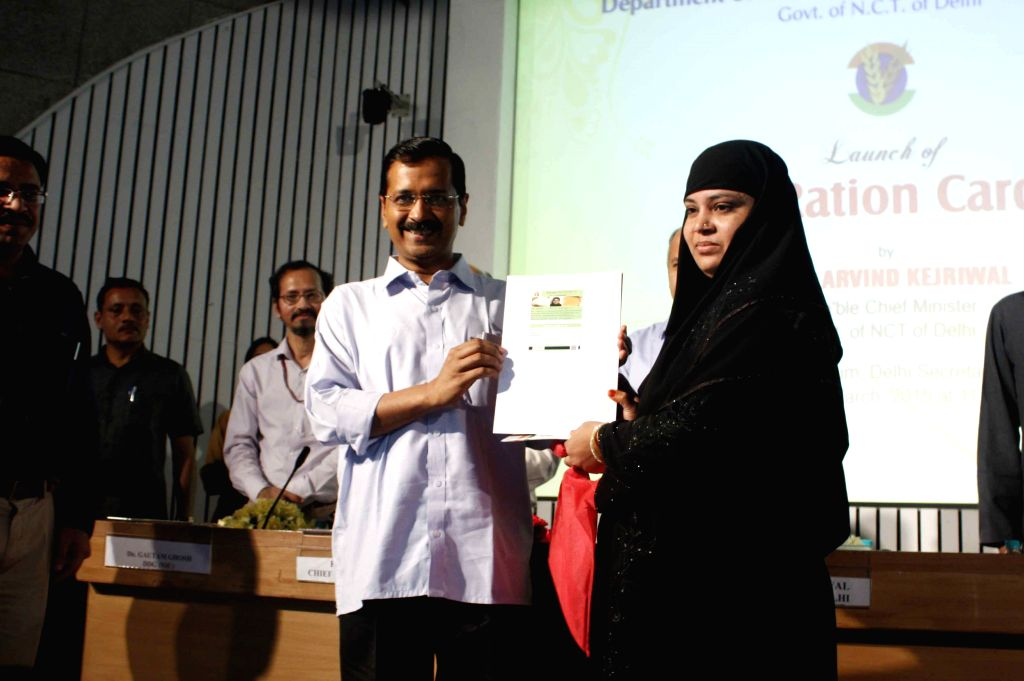Delhi Chief Minister Arvind Kejriwal  during a programme organised to launch e-ration card in New Delhi, on March 27, 2015. - Arvind Kejriwal