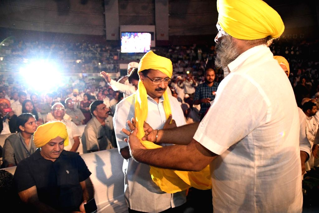 Delhi Chief Minister Arvind Kejriwal during a programme organised on the eve of martyr Bhagat Singh's birth anniversary on Sept 27, 2016. - Arvind Kejriwal and Bhagat Singh