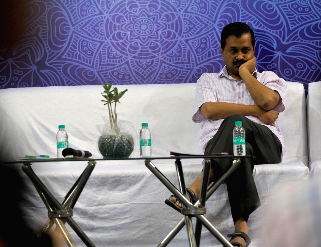 Delhi Chief Minister Arvind Kejriwal during a programme organised to interact with students of Delhi Government schools who have cleared IIT-JEE (Main) paper in New Delhi, on May 23, 2017. - Arvind Kejriwal