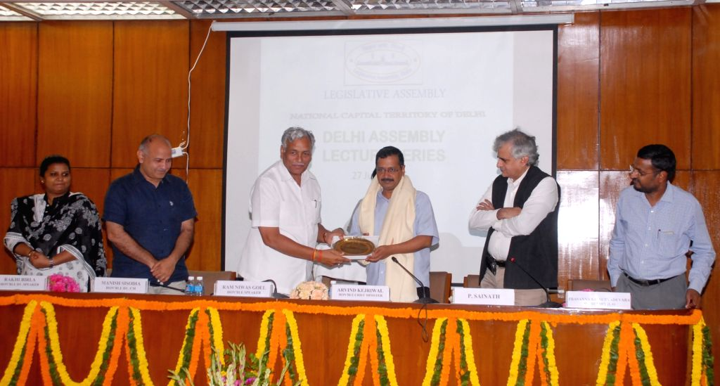 Delhi Chief Minister Arvind Kejriwal during the inauguration of the lecture series organised by the Delhi Vidhan Sabha in New Delhi on June 27, 2016. Also seen Delhi Deputy Chief Minister ... - Arvind Kejriwal