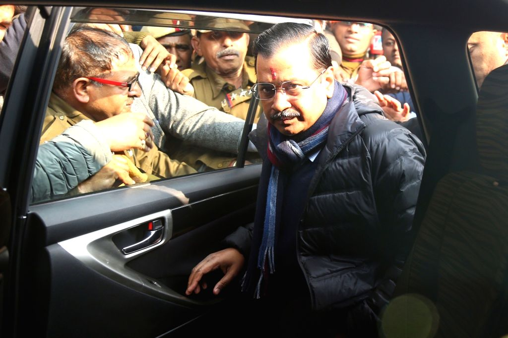 Delhi Chief Minister Arvind Kejriwal leaves after casting his vote for the Delhi Assembly elections 2020, at a polling booth in Delhi's Civil Lines on Feb 8, 2020. - Arvind Kejriwal