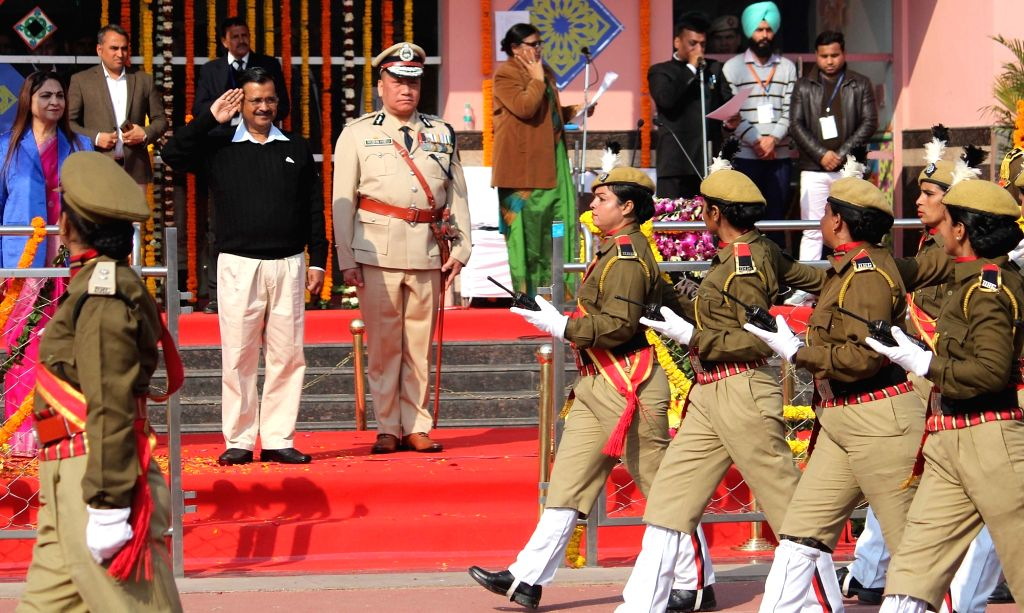 Delhi Chief Minister Arvind Kejriwal takes salute of the parade during the 71st Republic Day celebrations organised by the Delhi Government, on Jan 25, 2020. - Arvind Kejriwal