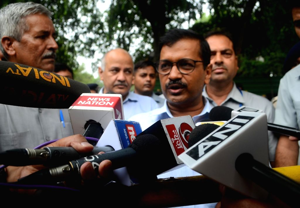 Delhi Chief Minister Arvind Kejriwal talks to press after meeting Union Home Minister Rajnath Singh in New Delhi on July 11, 2018. - Arvind Kejriwal and Rajnath Singh