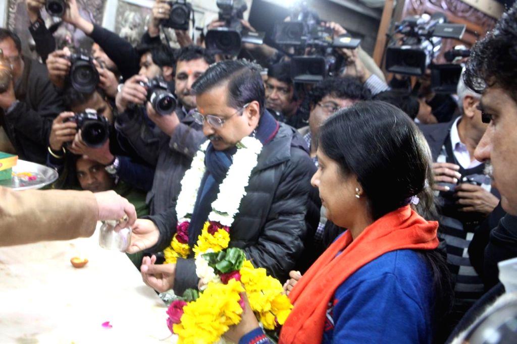 Delhi Chief Minister Arvind Kejriwal visits the ancient Hanuman temple in Delhi's Connaught Place on Feb 7, 2020. - Arvind Kejriwal