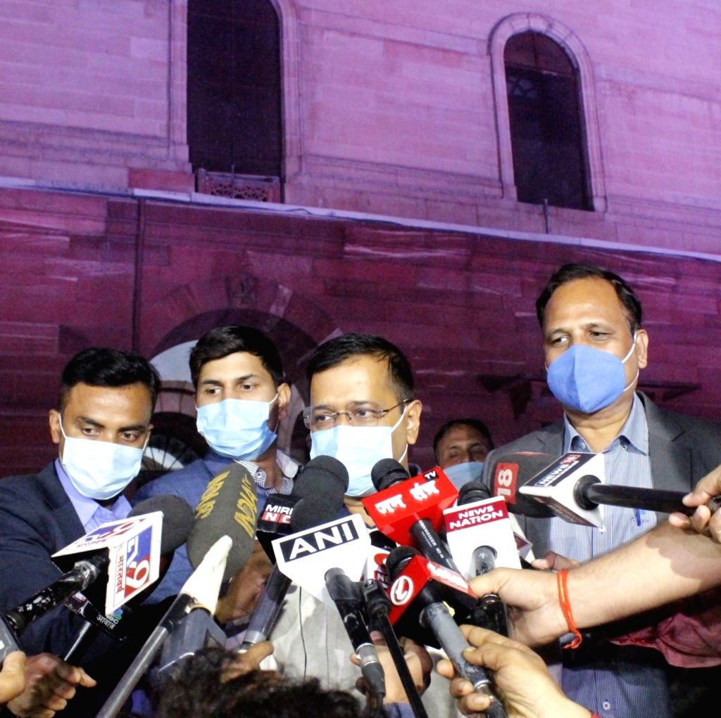Delhi CM Arvind Kejriwal after meeting with Amit Shah address to media at North block in New Delhi. - Arvind Kejriwal and Amit Shah