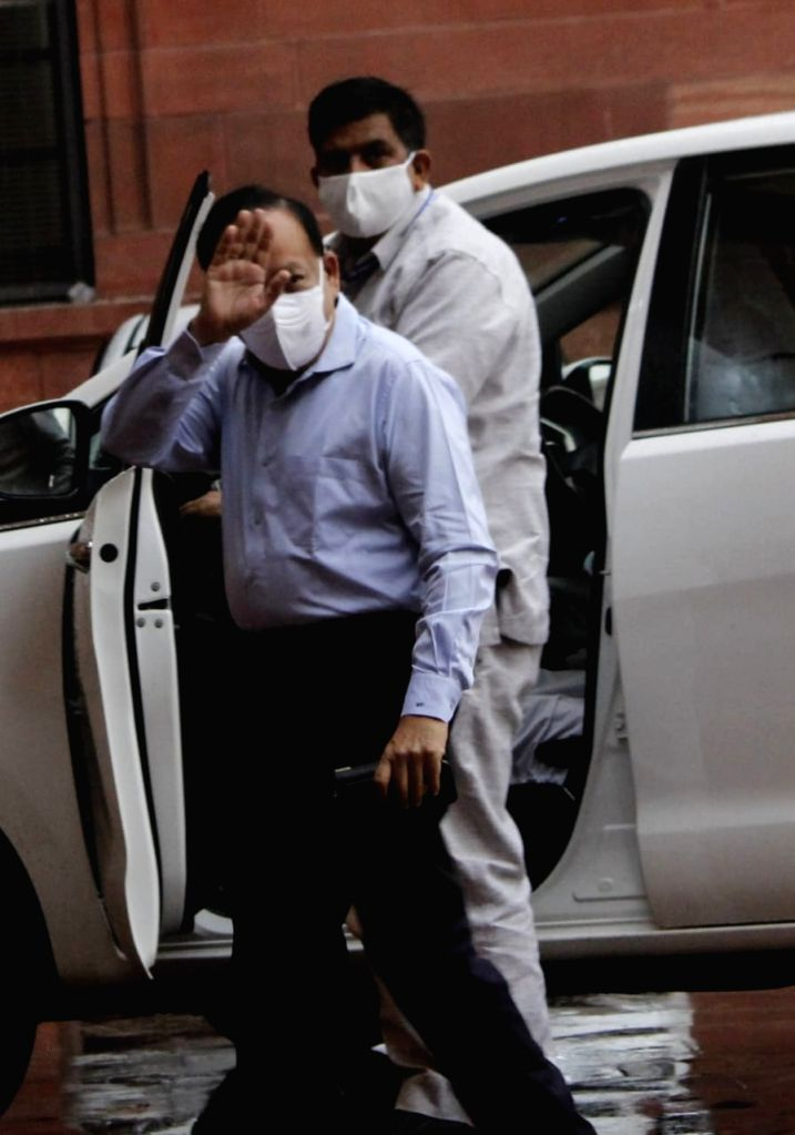 Delhi CM Arvind Kejriwal arrived for meeting with Amit Shah urgent meeting for Covid 19  at North block in New Delhi on Sunday. - Arvind Kejriwal and Amit Shah