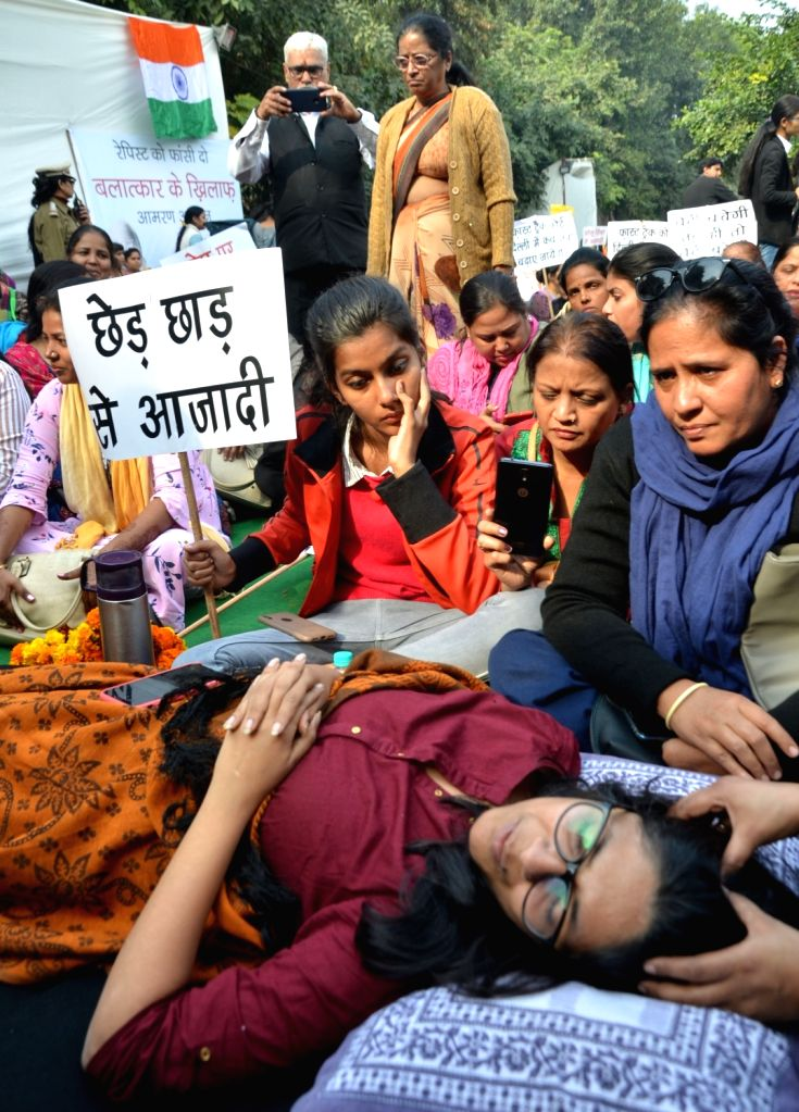 Delhi Commission for Woman (DCW) chief Swati Maliwal sit on an indefinite hunger strike at Raj Ghat against the gruesome gang rape and murder of a woman veterinarian in Hyderabad; in New ...