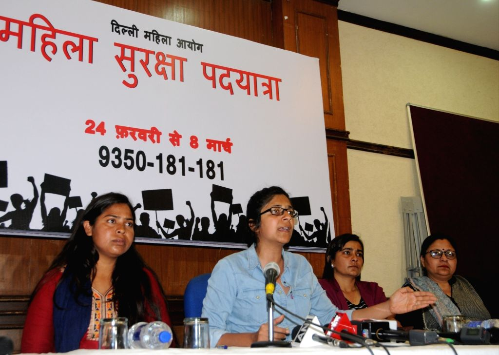 Delhi Commission for Women Chairperson Swati Maliwal addresses a press conference in New Delhi on March 7, 2019.