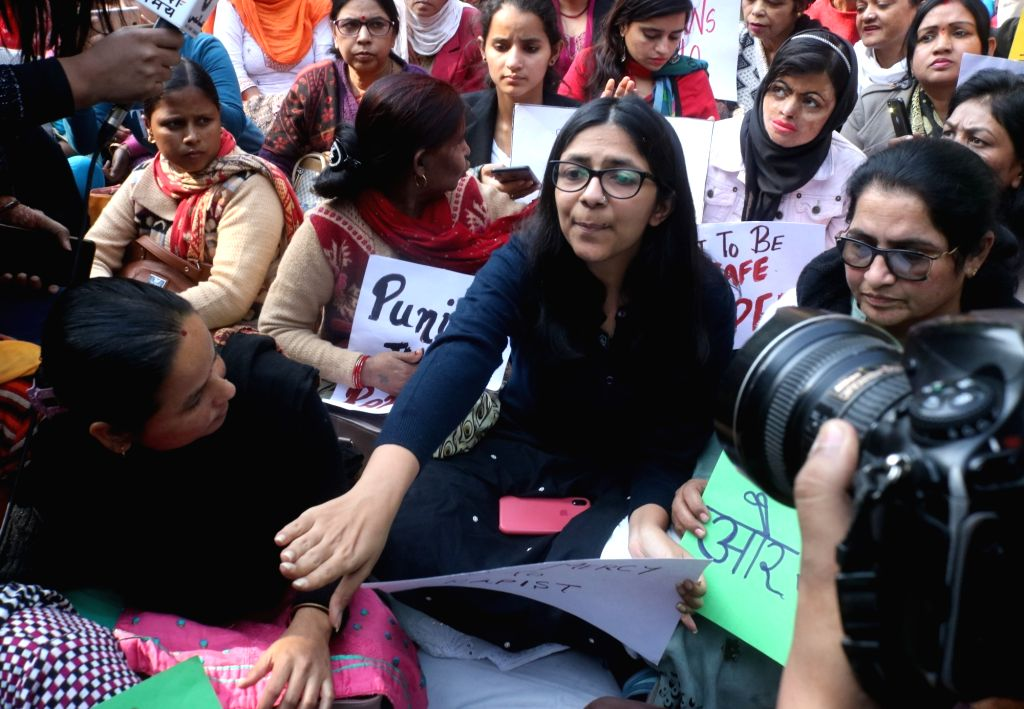 Delhi Commission for Women (DCW) Chairperson sits on a hunger strike, protesting against the gruesome gang rape and murder of a woman veterinarian in Hyderabad; demanding justice for the ...