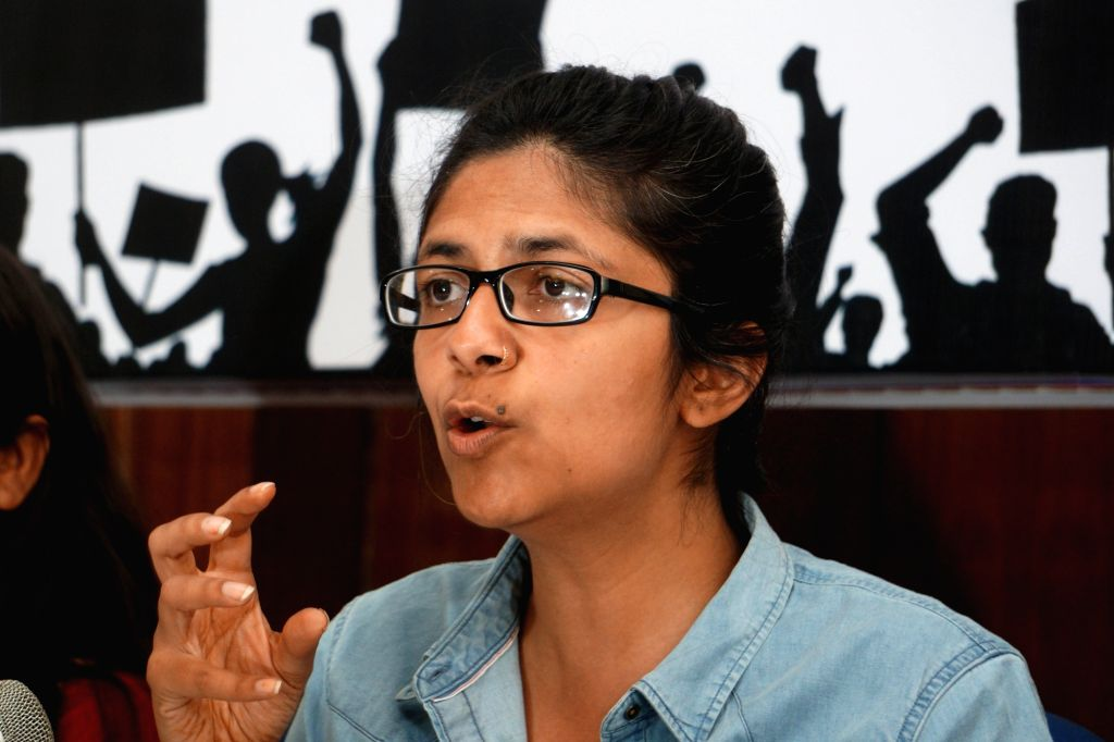 Delhi Commission for Women (DCW) chairperson Swati Maliwal addresses a press conference on the eve of International Women's Day in New Delhi, on March 7, 2019.