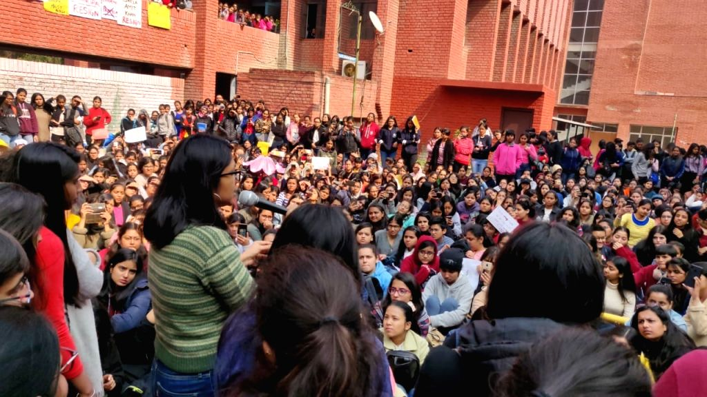 Delhi Commission for Women (DCW) chief Swati Maliwal addresses students of Gargi College of University of Delhi, protesting against the alleged sexual harassment case inside the college ...