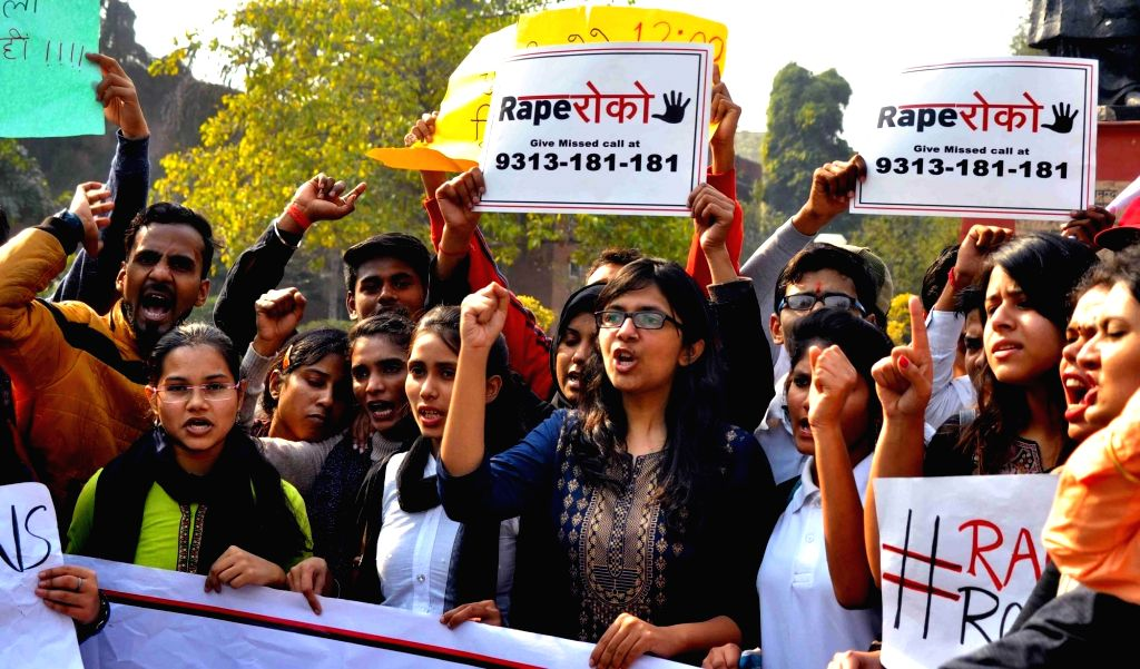 Delhi Commission for Women (DCW) Swati Maliwal participates in a nationwide campaign 'Rape Roko' with the students to fight sexual violence, in New Delhi on Feb 13, 2018.
