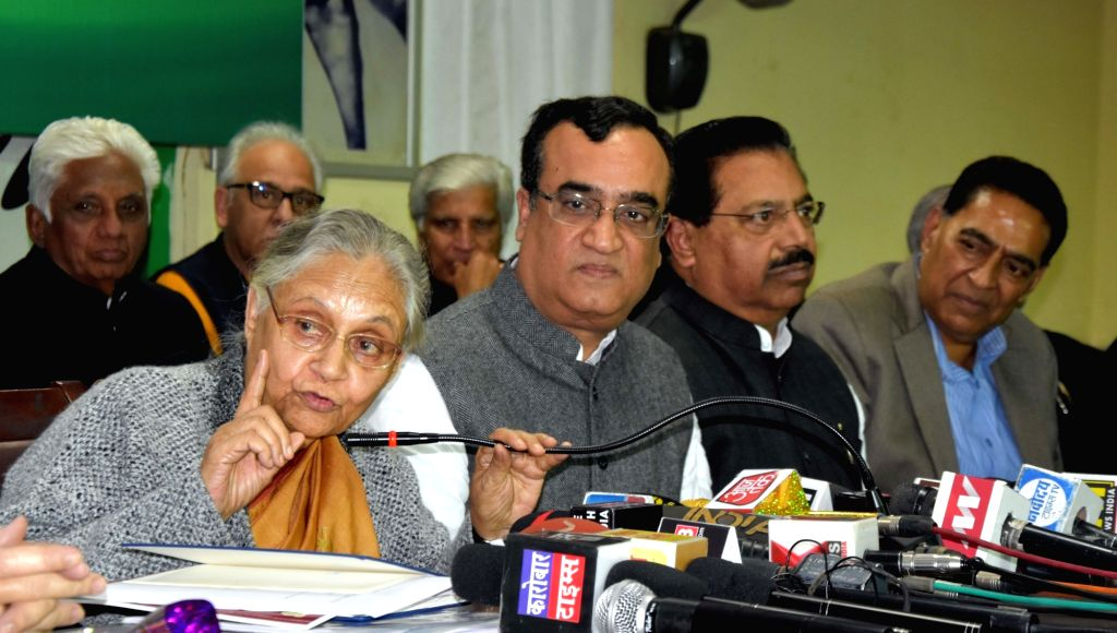 Delhi Congress chief Ajay Maken with party leaders Sheila Dikshit during a press conference on the third anniversary of the AAP government in New Delhi, on Feb 14, 2018. - Sheila Dikshit