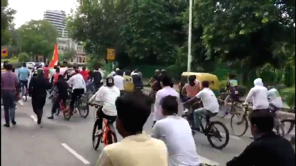 "Delhi Congress President Anil Kumar accompanied by scores of party workers, undertakes a ""Cycle Yatra"" to deliver letters to all Delhi MPs requesting their intervention to reduce ... - Kumar"