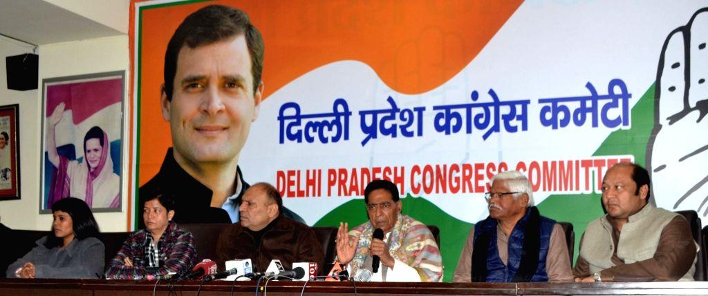 Delhi Congress President Subhash Chopra addresses a press conference, in New Delhi on Jan 9, 2020. - Subhash Chopra