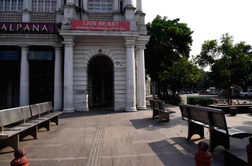 Delhi Connaught Place wears deserted look amid Janta curfew to fight the coronavirus pandemic in New Delhi on Thursday 13 May, 2021.