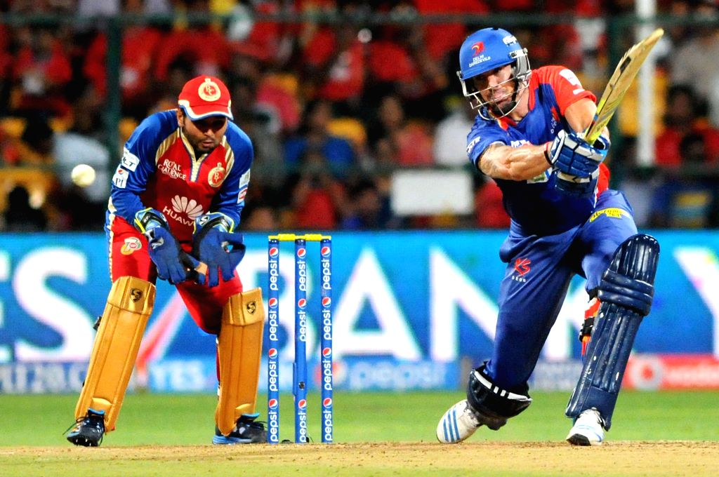 Delhi Daredevils batsman Kevin Pietersen in action during 38th match of IPL 2014 between Delhi Daredevils and Royal Challengers Bangalore at M Chinnaswamy Stadium in Bangalore on May 13, 2014. - Kevin Pietersen