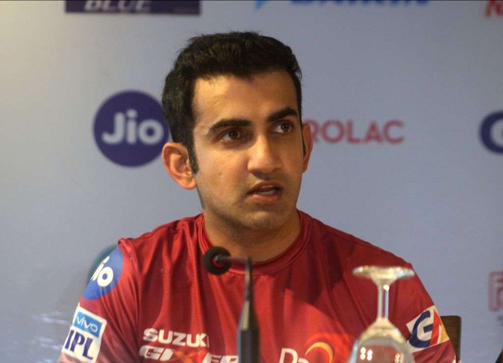 Delhi Daredevils captain Gautam Gambhir during a press conference at the launch of the team's anthem ahead of IPL 2018, in New Delhi on April 5, 2018. - Gautam Gambhir