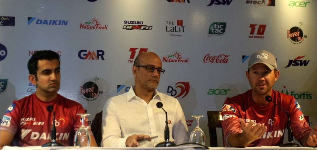 Delhi Daredevils captain Gautam Gambhir, the team's head coach Ricky Ponting and the owner Hemant Dua during a press conference at the launch of the team's anthem ahead of IPL 2018, in New ... - Gautam Gambhir
