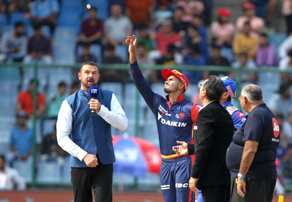 Delhi Daredevils captain Shreyas Iyer during the toss ahead of an IPL 2018 match between Delhi Daredevils and Mumbai Indians at Feroz Shah Kotla Stadium in New Delhi on May 20, 2018. - Shreyas Iyer