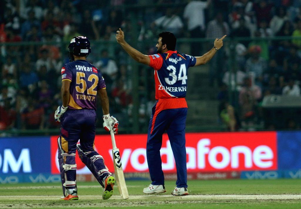 Delhi Daredevils captain Zaheer Khan celebrates wicket of Ajinkya Rahane of Rising Pune Supergiant on first ball of the innings during match between the Delhi Daredevils and the Rising ... - Zaheer Khan