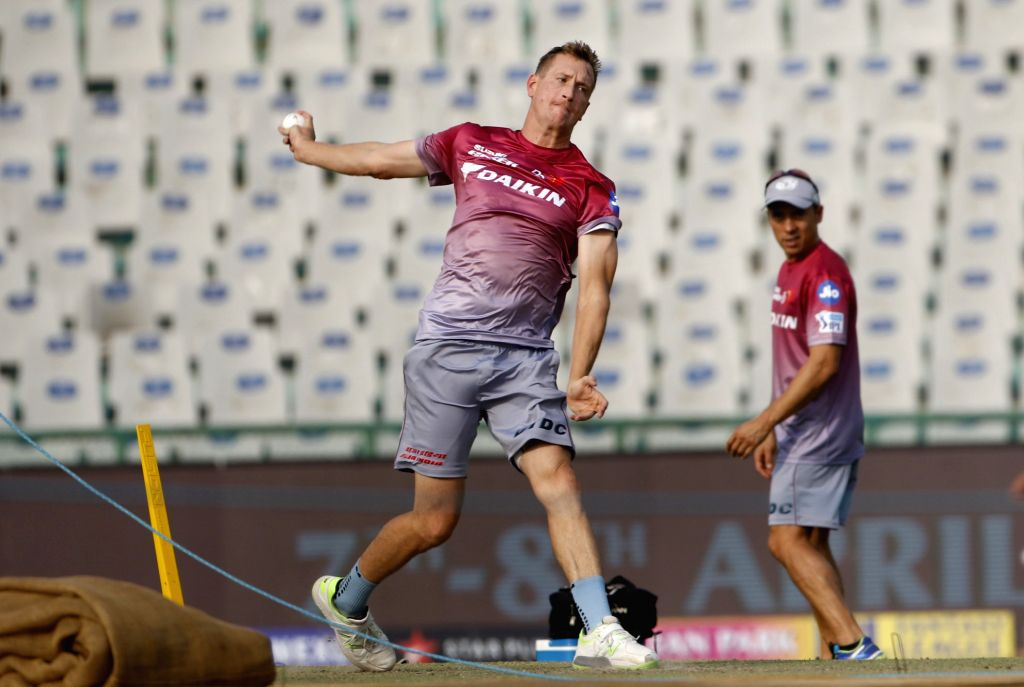 Delhi Daredevils player Chris Morris during a practice session in Mohali on April 7, 2018.