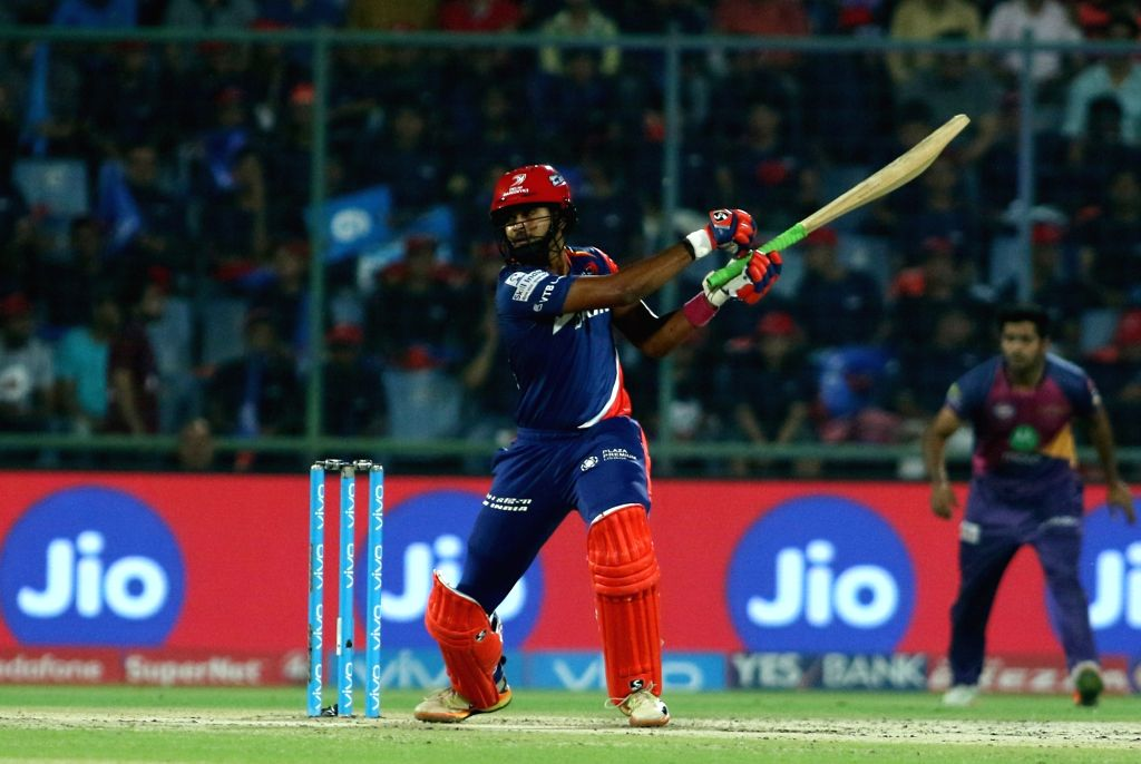 Delhi Daredevils player Shreyas Iyer in action against Rising Pune  Supergiant held at the Feroz Shah Kotla Stadium in Delhi on May 12, 2017.