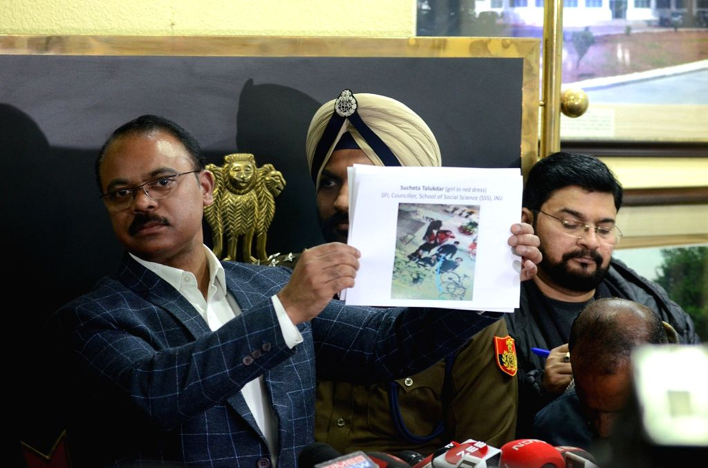 Delhi DCP, Crime, Joy Tirkey addresses a press conference on JNU violence, in New Delhi on Jan 10, 2020. Five days after the violence that rocked the JNU campus, the Delhi Police on Friday ... - Aishe Ghosh