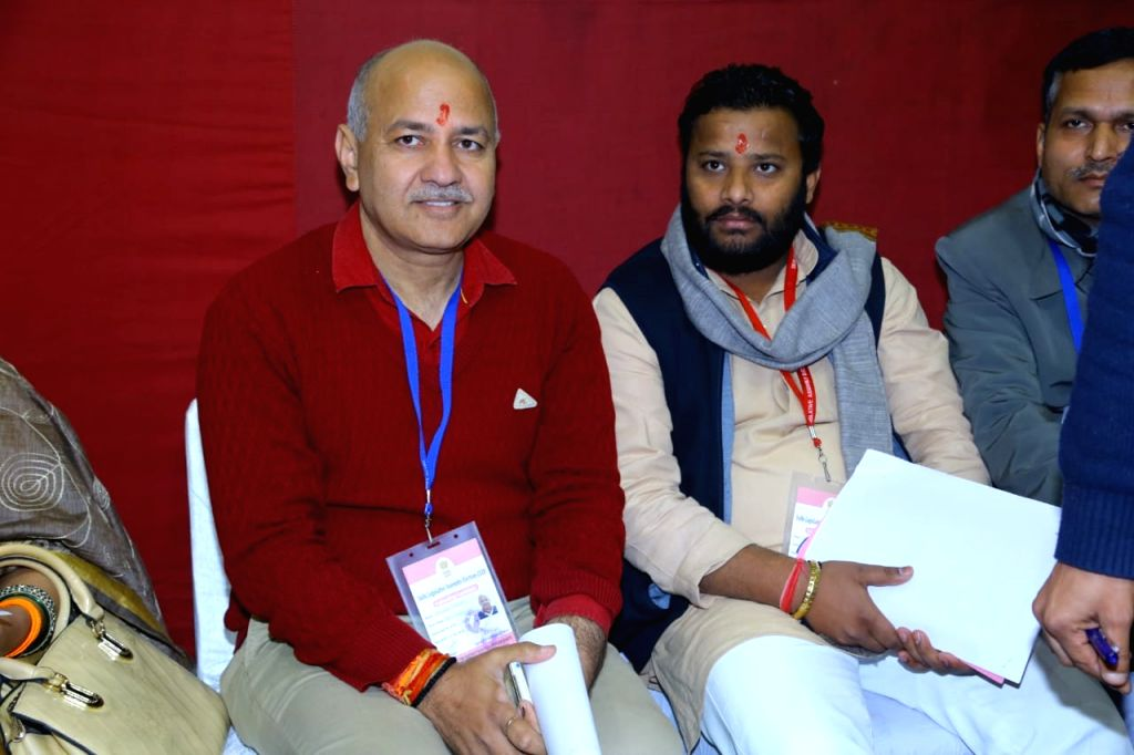Delhi Deputy Chief Minister and Aam Aadmi Party candidate from Patparganj assembly constituency Manish Sisodia at Patparganj Counting center during the counting of votes for the recently ...