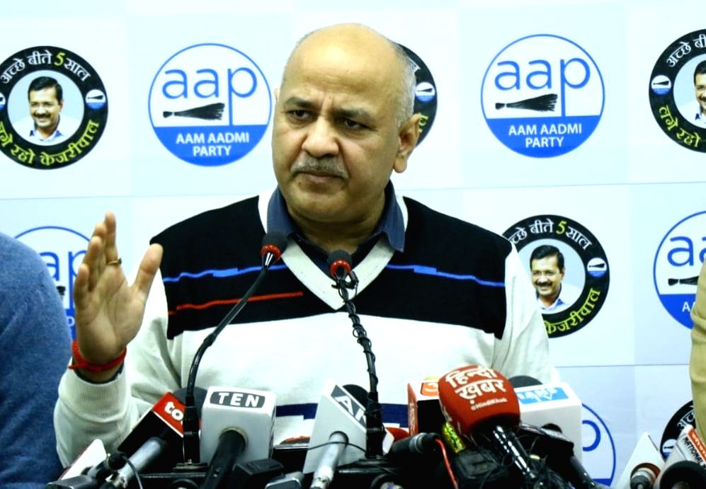 Delhi Deputy Chief Minister and AAP leader Manish Sisodia addresses a press conference at the launch of the party's official campaign song for Delhi Assembly elections, in New Delhi on Jan ...