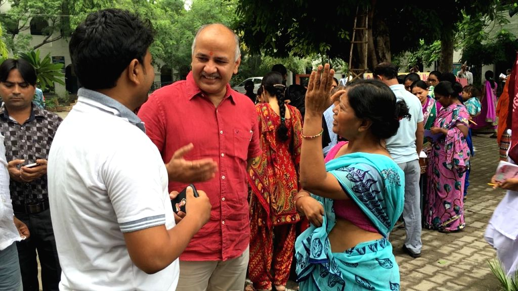 Delhi Deputy Chief Minister and Education Minister Manish Sisodia interacts with parents of the students of Rashtriya Pratibha Vikas Vidyalaya (RRPV) during the first ever parent teacher ... - Manish Sisodia