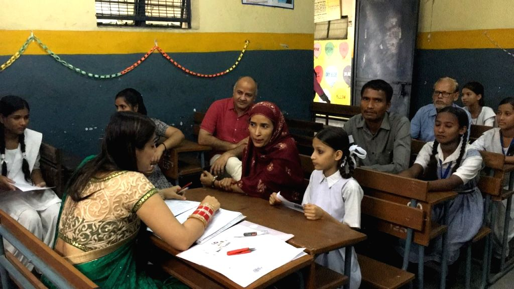Delhi Deputy Chief Minister and Education Minister Manish Sisodia during the first ever parent teacher meetings (PTMs) in Govt. schools in New Delhi on July 30, 2016. - Manish Sisodia